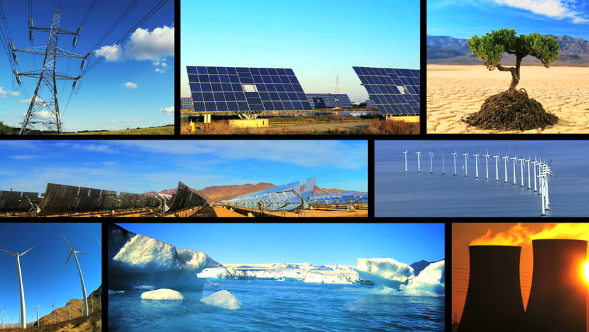 Montage collection of images showing fossil fuel, environmental damage & clean renewable & sustainable energy sources