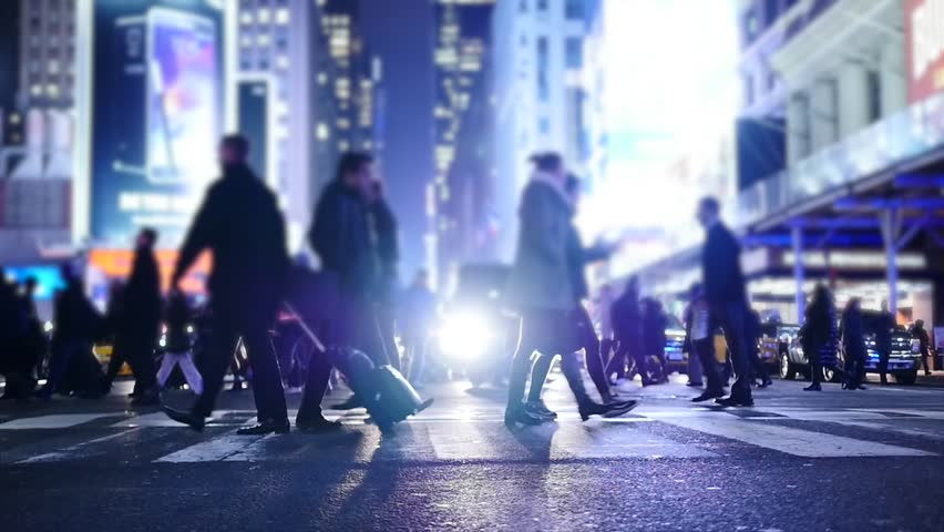people crossing crosswalk in city. new york city night lights background #8258149