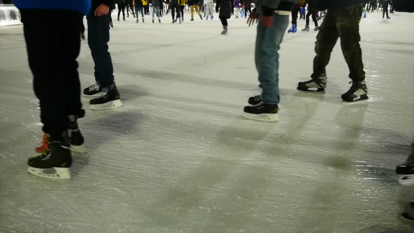 Winter sports background. people ice skating. holiday activity | Shutterstock HD Video #8258929