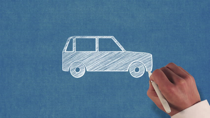 Car graphics signssymbols stock footage video shutterstock hand drawing a car on blueprint paper malvernweather Choice Image