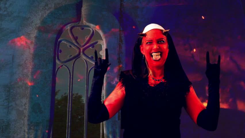 Evil Nun Concept With Devil Stock Footage Video 100 -1570