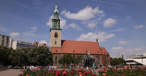 BERLIN, GERMANY - JUNE 30, 2014 Establishing Shot Central Berlin Sights Mary Church Marienkirche People Walk Sunny Day Clear Sky ( Ultra High Definition, UltraHD, Ultra HD, UHD, 4K, 2160P, 4096x2160 )