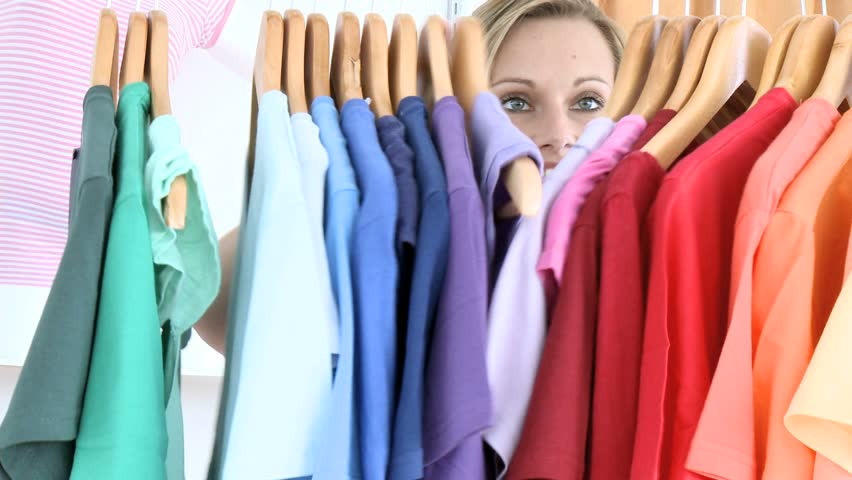 Woman shopping for t-shirts
