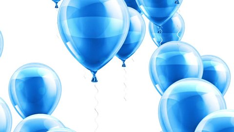 Beautiful background with Blue balloons fly up and rotate. White background. Alpha mask included. Loop animation. 4K. Other versions in my profile.