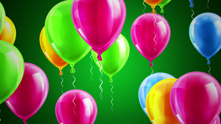 Beautiful Background With Colorful Balloons Fly To Right Green Loop Animation 4K Other Versions In My Profile