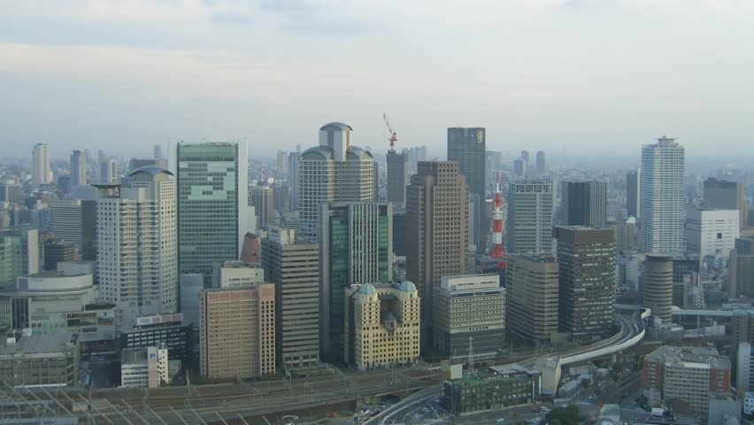 Time-Lapse. Osaka, Japan from highest point in Osaka just before sunset.