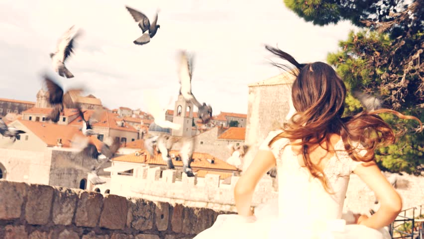 Gorgeous Beauty Bride Princess Vintage Dress Running Doves Fly Away Medieval Town View Castle Fortress Fairy Tale Concept Dream Fantasy Uhd 4K