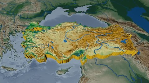 Turkey extruded on the world map. Rivers and lakes shapes added. Colored elevation and bathymetry data used. Elements of this image furnished by NASA.