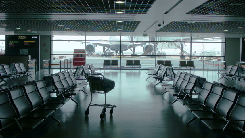 Empty Airport Waiting Area Near Stock Footage Video 100