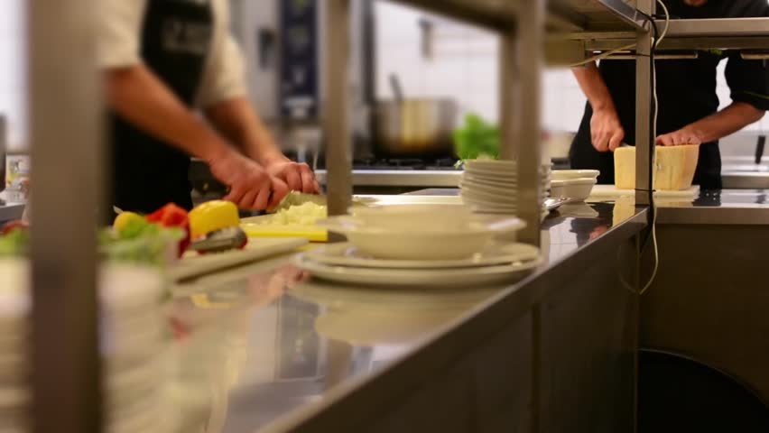 Restaurant Kitchen Video chefs cook in the kitchen - restaurant stock footage video 8340259