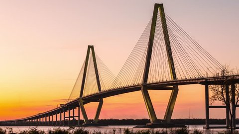 Arthur Ravenel Jr. Bridge in Charleston, SC timelapse at twilight.