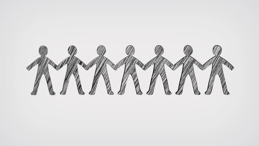 People Holding Hands Whiteboard Stop-Motion Style Animation