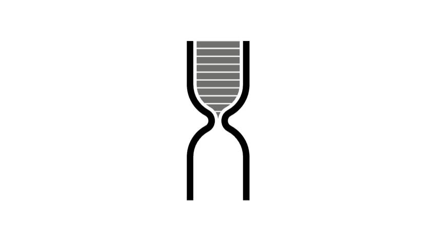 Schematic hourglass for 10 seconds - turn over endlessly. Simple hourglass.