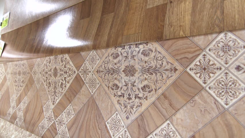 linoleum flooring samples in store showroom tracking shot hd stock video clip