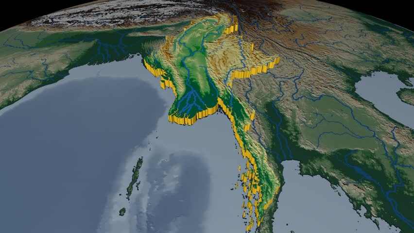 Myanmar extruded on the world map with graticule rivers and lakes myanmar extruded on the world map rivers and lakes shapes added colored elevation and gumiabroncs Gallery