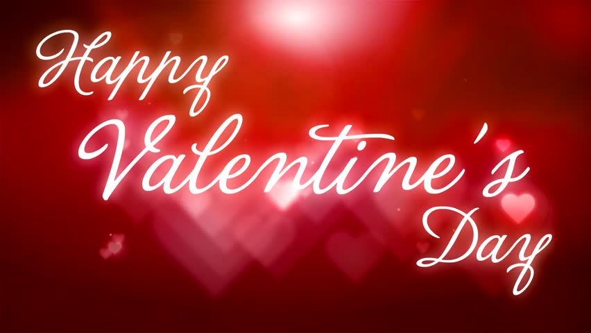 Happy Valentine\'s Day Text On Red Hearts Background Stock Footage ...