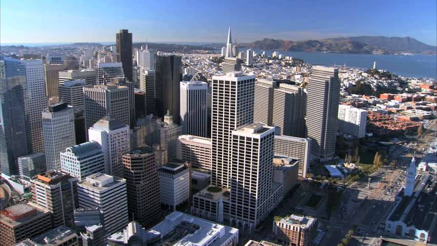 Aerial view of skyscrapers & city buildings