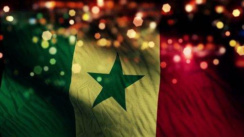 Senegal Flag Light Night Bokeh Abstract Loop Animation 4K Resolution UHD Ultra HD