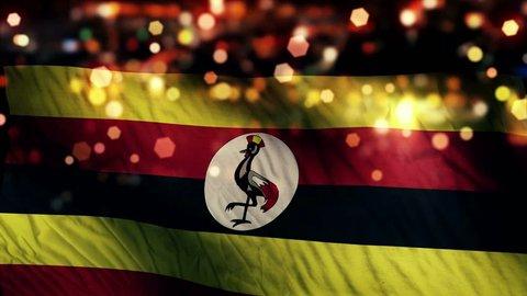 Uganda Flag Light Night Bokeh Abstract Loop Animation 4K Resolution UHD Ultra HD