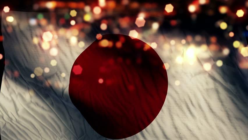 Japan Flag Light Night Bokeh Abstract Loop Animation 4K Resolution UHD Ultra HD