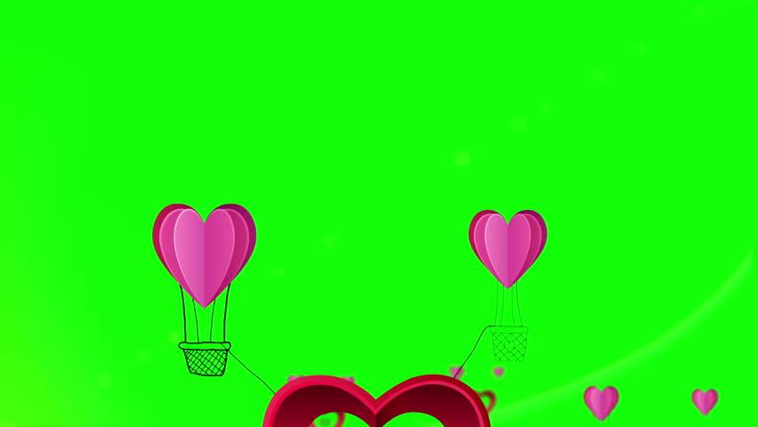 Digital animation of happy valentines day vector with heart hot air balloons #8426329