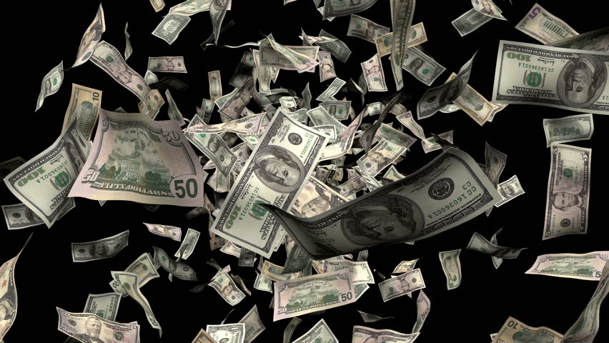 Money Burst animation bigger. Created with hundreds, fifties, twenties, tens and one dollar bills. With alpha | Shutterstock HD Video #848899