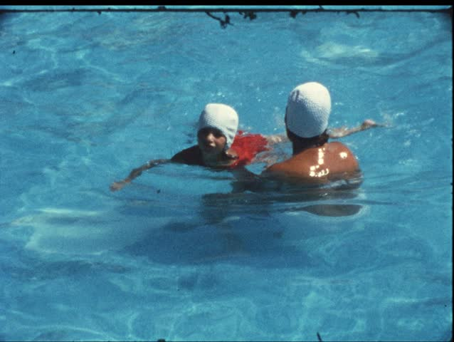 Swimming school (vintage 8 mm amateur film)