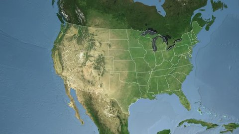USA - Texas state (Austin) extruded on the satellite map of North America in the Azimuthal Equidistant projection. Elements of this image furnished by NASA.