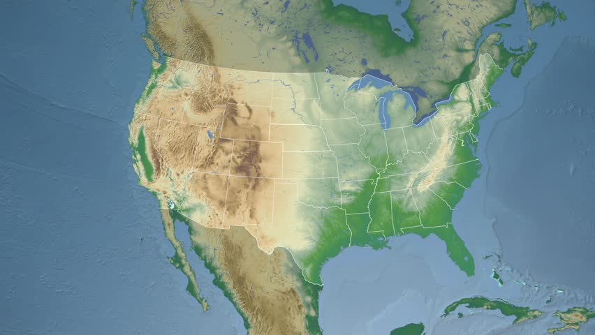 Usa Nebraska State Lincoln Extruded On The Physical Map Of North America In