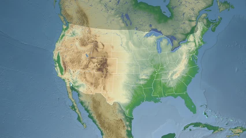 USA Colorado State Denver Extruded On The Physical Map Of The - Colorado physical map
