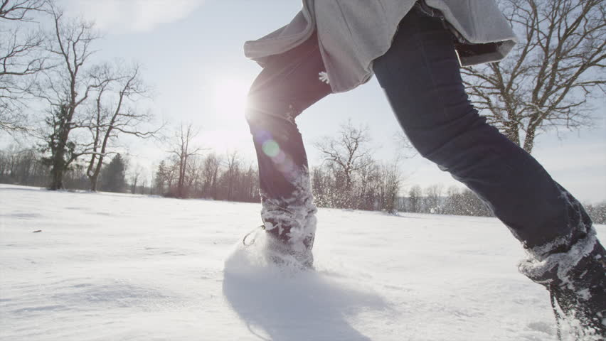 SLOW MOTION CLOSE UP: Running in the snow | Shutterstock HD Video #8511049