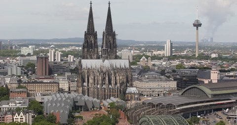 Cologne Skyline Aerial View Establishing Shot Famous Church TV Tower Colonius ( Ultra High Definition, UltraHD, Ultra HD, UHD, 4K, 2160P, 4096x2160 )