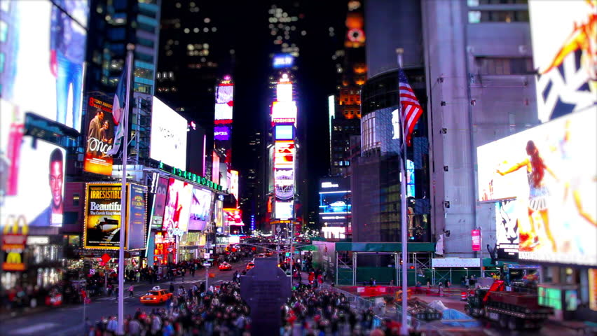 NEW YORK, USA, MAY 2014 - Super Speed Timelapse, wide shot from the center of Times Square, New York in the night. Showing the vibrancy of the square and how busy it is at night.   Shutterstock HD Video #8522809