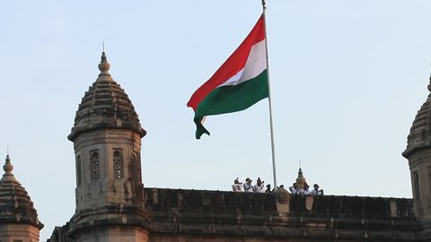 Mumbai, India January 13 2015: Indian National Flag Tricolour on Gateway of India on Army Day rehearsals underway at the Gateway of India in Mumbai, India on January 13 2015.