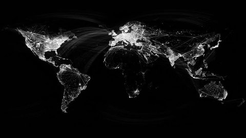 Network Lines Lighting Up World Map 4K. Black and White Version. Very detailed. Can be used as a high resolution texture or projection map.