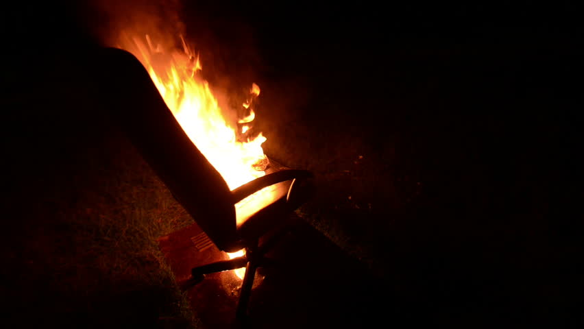 Chair On Fire Burning In The Night Closeup Stock Footage Video 8573149    Shutterstock