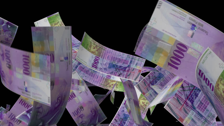 Falling Switzerland Money   Video Effect simulates Falling 1000 Swiss franc Money banknotes with alpha channel in 4k resolution    Shutterstock HD Video #8580739