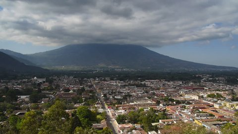 Timelapse of clouds moving over volcano ovelooking Antigua, Guatemala.
