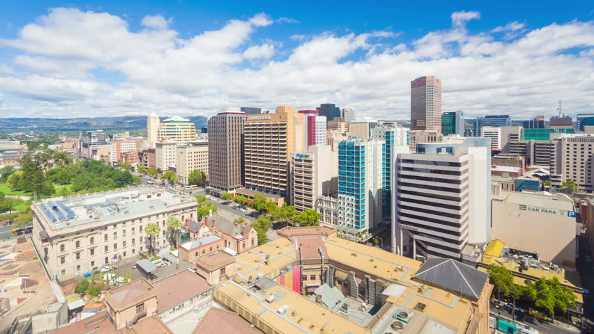 Adelaide, Australia - January 15, 2015: 4k timelapse video of downtown Adelaide in the daytime. Adelaide is the capital city of South Australia and the fifth largest city in Australia
