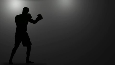 Silhouette of Boxer Under Lights