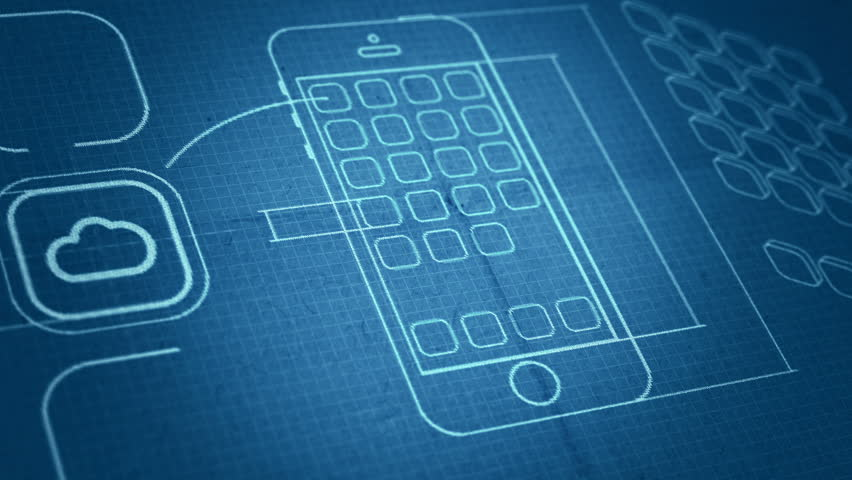 Stylized interface design process blueprint animation concept mobile app development blueprint concept technology drawing animation different colors in my profile malvernweather Image collections