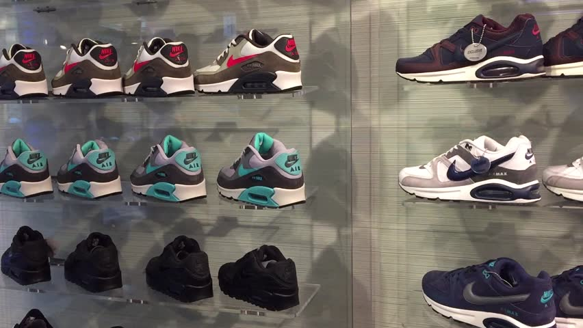 BOLOGNA, ITALY - DECEMBER 10, 2014: Exposition of nike sport shoes. Nike is one of the world's largest suppliers of athletic shoes and apparel. The company was founded on January 25, 1964.