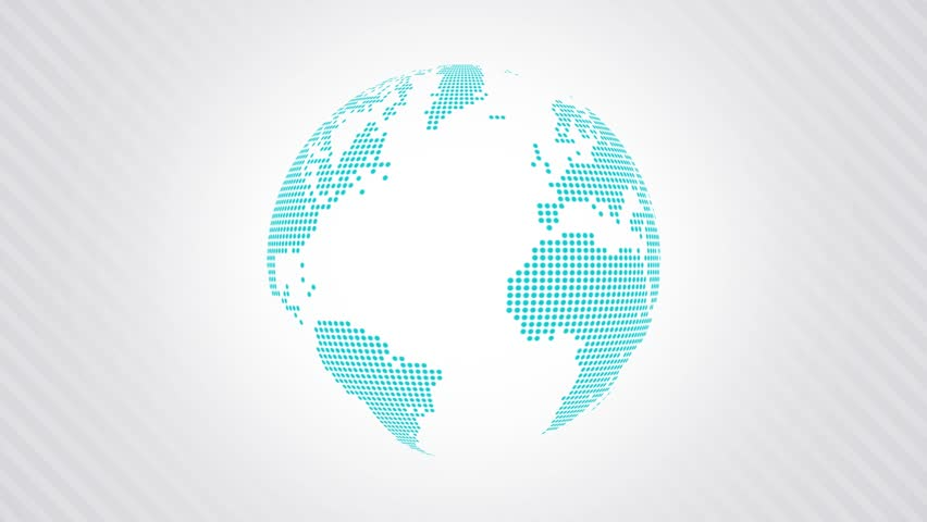Animated globe with a dotted world map on a light background right side loop