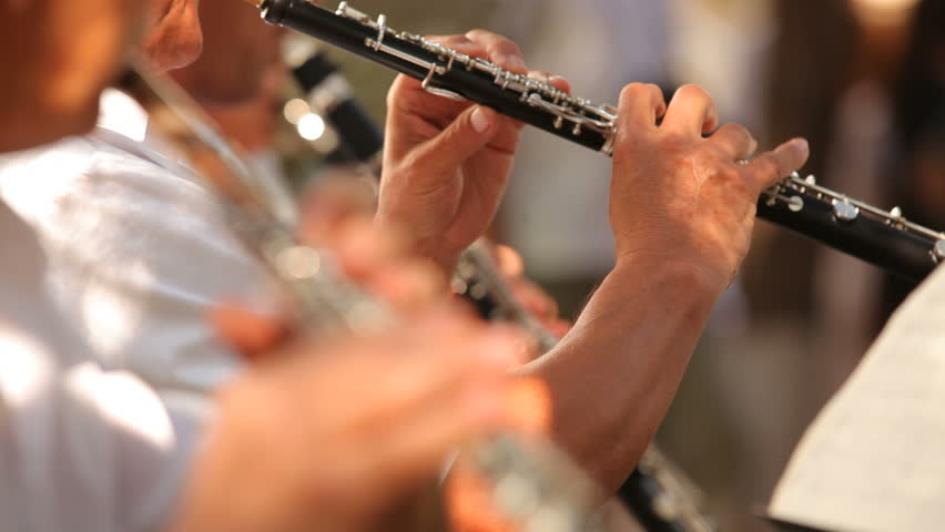 Musician plays the flute. Flutist professionally playing the flute in the orchestra. The foreground is blurred.