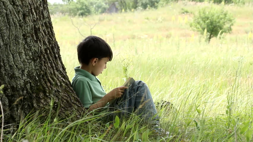 boy reads book outdoors.