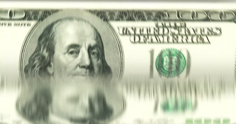 [loopable] Banknotes counting machine. Enumerating US 100 dollars biils. Infinite flow of money. Source: CGI rendering. Clip ID: ax318c