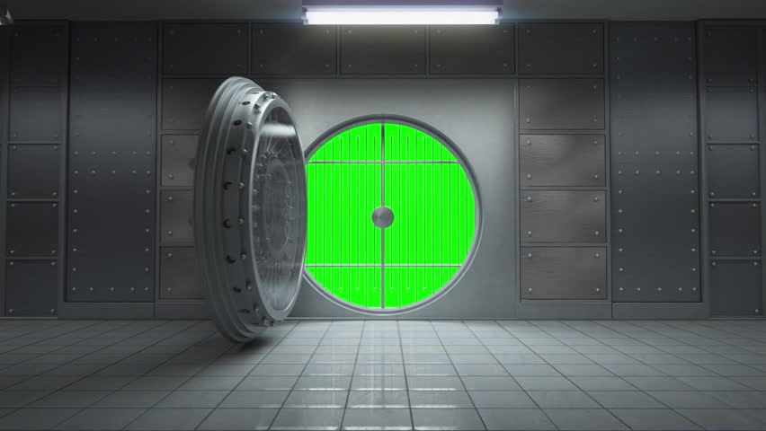 3d animation of opening a huge empty bank vault with camera going toward with greenscreen