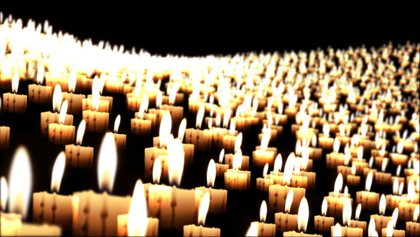 Candles in the night fly over, close up
