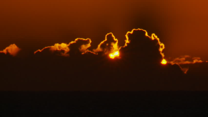 Closeup Sunrise Over Ocean Time Lapse
