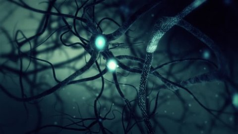 Green Neuron synapse network 3D animation. Infinite Loop inside the human brain.